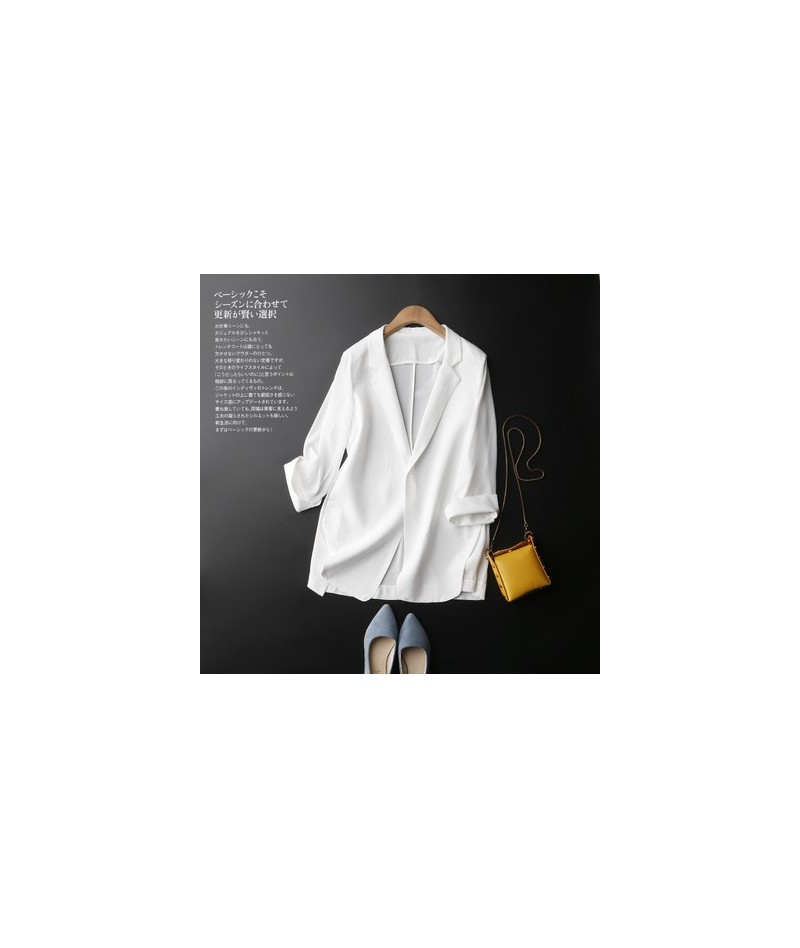 2019 High Quality Women Chiffon Suit Coats Summer Chic Thin Work Jacket Office Lady Solid Basic Business Outerwears - white ...
