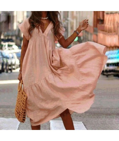 3XL Sexy V Neck short sleeve baggy dress Women solid Boho Long Dress Summer female Casual pleated beach plus size dress - Or...
