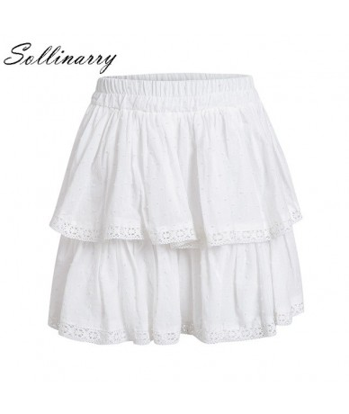 White Summer Party Skirt Ruffle Women Polka Dot Casual Fashion Mini Skirt Sexy Girl Elastic Holiday Boho Short Skirts - Whit...