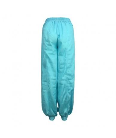 Women Casual High Waist Harem Pants Cotton Baggy Afghani Genie Indian Aladdin Trouser Black Blue Green Red White - Blue - 4O...