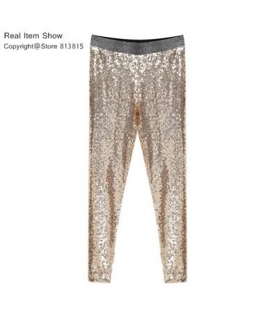 Sequin Trousers Women Sparkle Metallic Pants Women Sequin Pants Skinny Woman Trousers Stretch Pencil Pants High Waist - Gold...