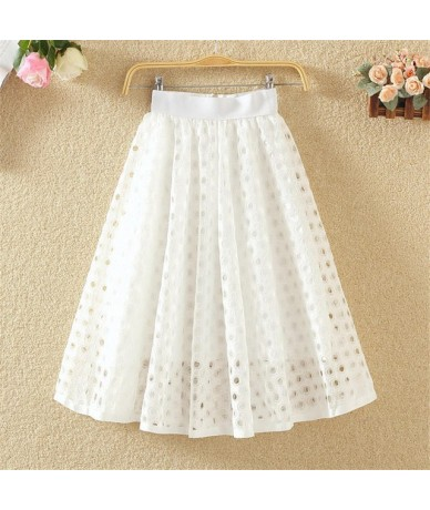 Harajuku tutu Skirts Womens Elastic High Waist Tulle Mesh Lace Skirt Saias Hollow out Jupe Tulle Femme White Skirt Pleated Q...
