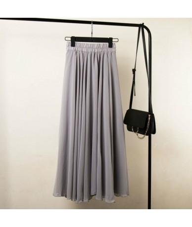 3 Layer Chiffon Long Skirts For Women Elegant Casual High Waist Boho Style Beach Maxi Skirts Saias 80/90/100cm 2019 Spring S...