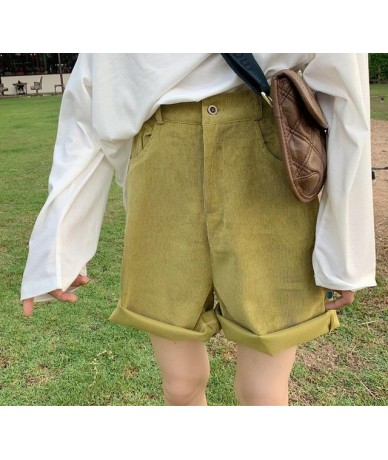 Fashion Corduroy High Waist Shorts Women Solid Color Ripped Wide Lege Shorts Girl Simple All-match Harajuku Straight Shorts ...