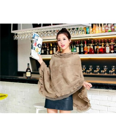 Plus Size Women's Wool Plaid Cardigan Turtleneck Cape Batwing Sleeve Knit Poncho Sweater - C16 - 4J3868785172-7