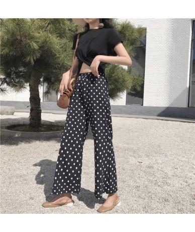 New Fashion dot Wave point chiffon pants casual loose flare pants elastic waist chiffon women pants bohemian beach pants 025...