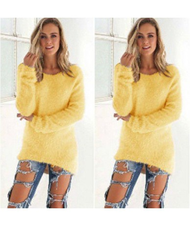 2019 Autumn Winter Casual Knitted Ladies Sweater Long Sleeve O-neck Women Tops Plush Sweaters Plue Size 3XL Pullovers Sweate...