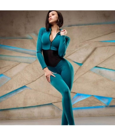 new arrival women sporting fitness jumpsuit autumn winter full sleeve zipper turtleneck skinny slim female casual bodysuit -...