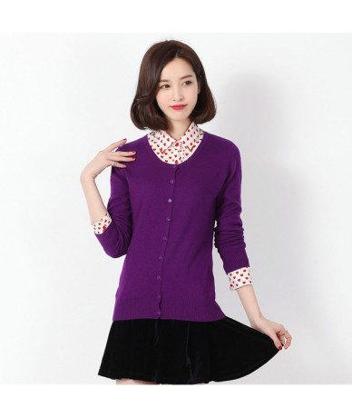 High Quality O-Neck Ladies Cashmere Blend Cardigan Autumn Casual Long Sleeve Sweater Short Cardigan Thin Sweater 2018 - Purp...