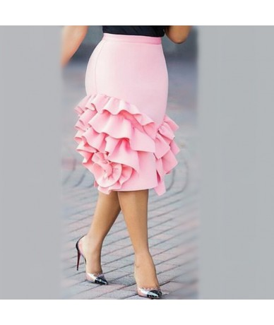 Women Pencil Skirt Pink Ruffle High Waist Slim Female Package Hip Lolita Jupes Bodycon Lady Falads Officewear Elegant Femme ...