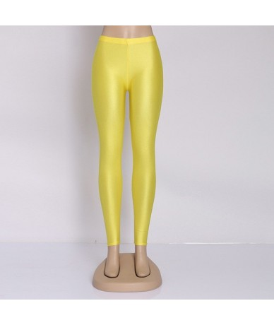 Women Solid Color Pant Leggings Large Shinny Elasticity Casual Trousers For Girl - YELLOW - 4L4127603721-16