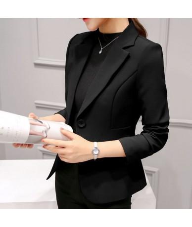 2019 New Spring Office Work Wine-red Black Blazer Femme Korean Casual Notched-Collar Long-sleeve Slim Women's Short Jackets ...