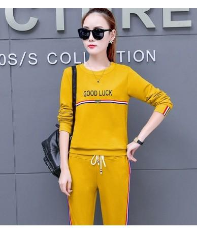 2019 Autumn New Korean Women's Slim Letter print Tracksuit Pant Suit 2 Piece Set Women sweatshirt And Casual Striped pants s...