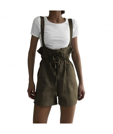 Fashion Pocket Loose Playsuit Women Ruffle High Waist Suspender Strappy Rompers Ladies Summer Casual Short Dungaree Overalls...