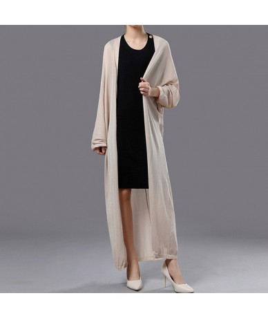 2019 New Summer Long Cardigan Women Solid Color Open Stitch Thin Sunscreen Clothing Fashion Holiday Casual Loose Breathable ...