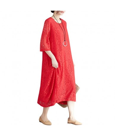 Women Vintage Solid Lace Dress Loose Casual Plus Size 3XL Dresses Half Sleeve Summer Baggy Dress Elegant Party Dress - Red -...