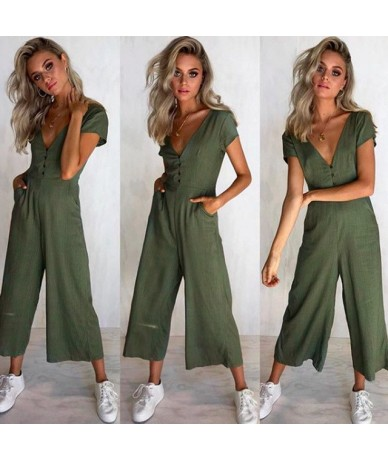 Women Sexy Solid FIt Chiffon Jumpsuit V Neck Short Sleeve Tops Loose Ankle Length Pants Clubwear - Army Green - 4R3067834703-2