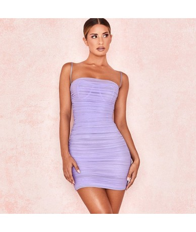 Double Layers Mesh Summer Dress 2019 Women Spaghetti Straps Bodycon Ruched Dress Woman Party Night Club Dress Sexy Robe - La...