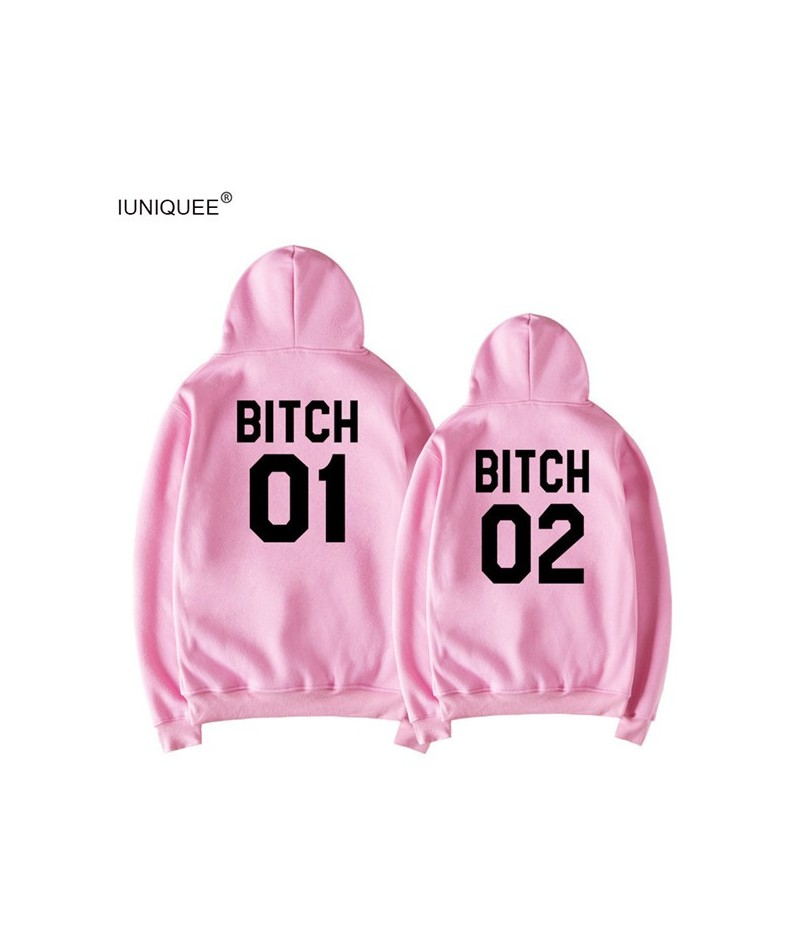 Bitch Letter Harajuku Casual Coat Two Layers Hat 2018 Winter Fleece Pink Pullover Thick Loose Women Hoodies Sweatshirt Femal...