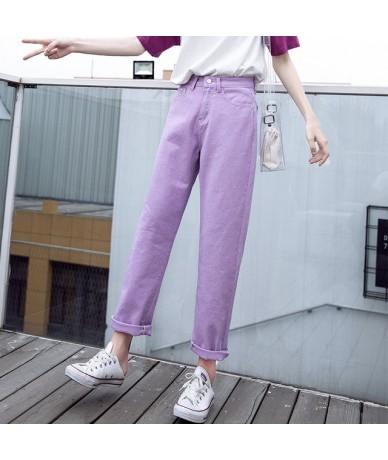 2019 Vintage Apricot Boyfriend Jeans For Women High Waist Denim Jeans Casual Woman Straight Denim Pants - Purple - 4V390190...