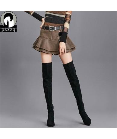 Plus Belt England Style Pu Leather Ruffles Pleated Waist Shorts Skirt 2018 New Elegant Shorts Summer Wide Leg Plain Woman So...