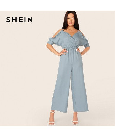 Turquoise Cold Shoulder Frilled Surplice Wrap Wide Leg Straps Jumpsuit Women Summer Autumn Elegant High Waist Jumpsuits - 4V...