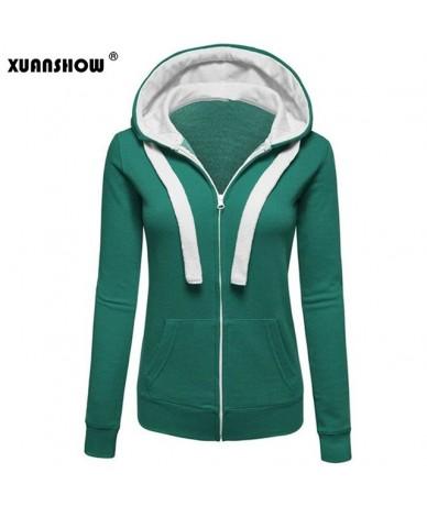 2019 New Winter Women Long Sleeve Hooded Sweatshirts Contrast Color Big Hat Zipper Pocket Women's Jacket Hoodies XXXL - Gree...