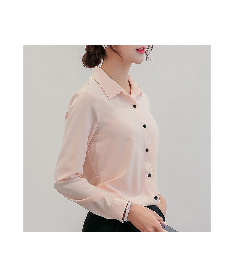 Blouse Women Chiffon Office Career Shirts Tops 2019 Fashion Casual Long Sleeve Blouses Femme Blusa - Pink - 4U3061024791-1