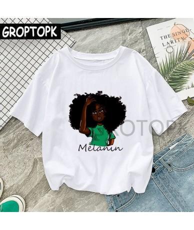 Cool Melanin Black Girl Print Female T-shirt Harajuku T-shirts for Women Summer Hip Hop Cotton T Shirt Tee Shirt Femme Vogue...