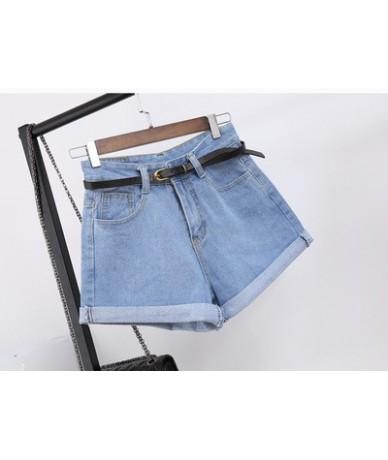 2019 Summer Solid Color Women's Denim Shorts Harajuku High Waist Jeans Casual Slim Denim Jeans Women Belt Ladies Shorts - Li...