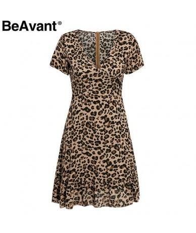 V neck leopard print summer dress women Elegant short sleeve high waist female mini dress Casual ruffle ladies dresses - Leo...