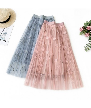 Summmer Pink Blue Sexy Women Skirts High Waist Embroidery Mid-Calf Long Skirts Mesh Clothing Vintage A-Line Skirts - Pink - ...