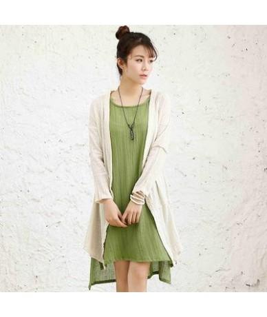 2018 Spring New Art Simple Loose Women Blouses Retro Cotton Linen Plus Size Long Sleeve Blouse Mori Girl Blusas Cardigan - B...