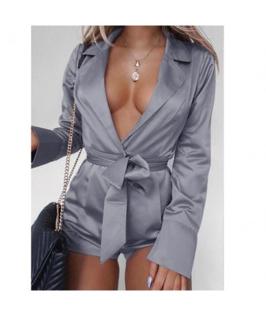 Autumn Women Playsuit Shorts Pant Sexy Spring Polyester Club Lapel Solid Lace Up Party Long Sleeve Casual - Gray - 400007885...