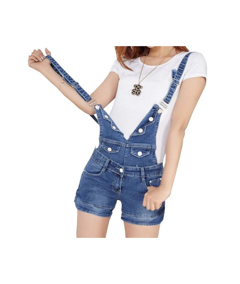 2018 Summer Short Denim Jumpsuit Women Casual Jeans Romper Playsuits Fashion Bandage Dungarees Overalls Shorts For Ladies - ...