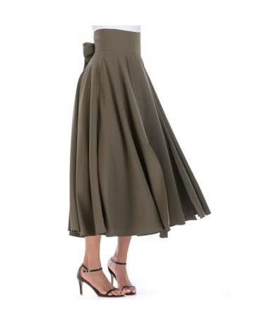 2019 Basic Maxi Long Skirts Plus Size 4xL 100cm Muslim Women Pleated High Waist Bow Split Ball Gown Longa Saias MS8323 - Arm...