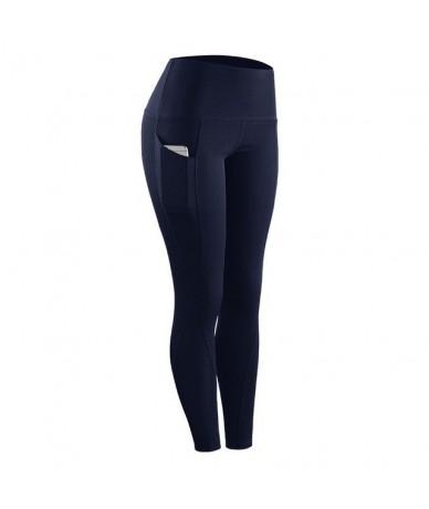 Women Compression Skinny Fitness Leggings Women Stretch Sportswear Casual Leggings Pants with Pocket - Navy - 4J3956426126-3