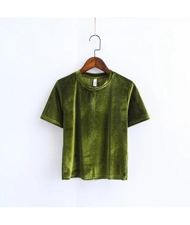 Chic Back Slit Short sleeve Velour T shirt New Woman Solid color O neck 2019 Spring Summer Velvet Tee Tops - Aqua - 43396406...