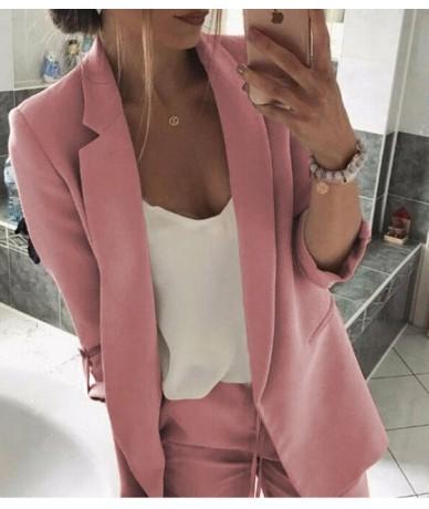 Women Lady Long Sleeve Slim Blazer Suit Coat Work Jacket Casual Formal Suit Plus M-3XL Autumn Clothes - Pink - 5B111244064055-3