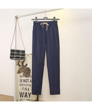 Cotton Linen Spring Summer Pants Women Lace Up Loose Casual Sweatpants Women Candy Colors Thin Harem Pants Woman Trousers C5...