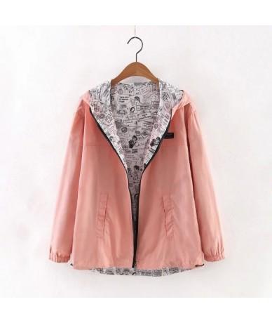 2018 Autumn Women Bomber Basic Jacket Pocket Zipper Hooded Two Side Wear Cartoon Print Outwear Loose Coat - pink - 4R3900038...