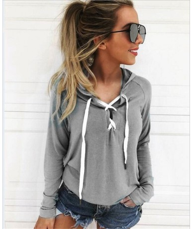 Moletons Feminino Lace Up V-neck Women Hoodies Sweatshirts Casual Harajuku Hooded Pullovers Outwear Plus Size Clothing - gre...