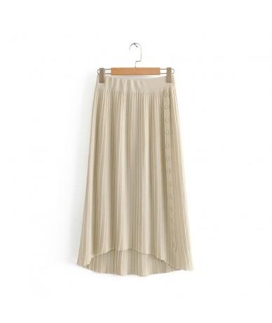 women elegant pleated knit midi skirt buttons 2019 autumn winter fashion beige black office ladies work skirts BG02 - Khaki ...