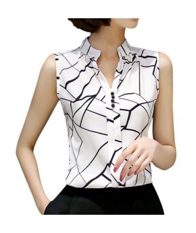 Summer Women Tops Casual Sleeveless V-Neck Fashion Women Blouse Shirt Chiffon Print Blouses Ladies Blusas - A7 - 4O3957437968-5
