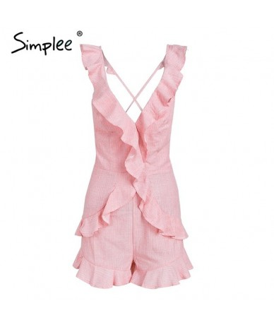 Ruffle v neck backless sexy jumpsuit women Elegant lace up solid short jumpsuit romper Casual beach summer jumpsuit - Pink -...
