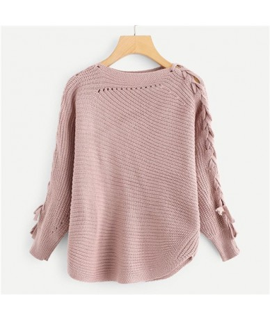 Pink Lace Up Solid Womens Sweaters 2019 Autumn Clothes Women Casual Spring Plain Clothing Long Sleeve Pullover Jumper - Pink...