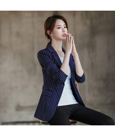 Plus Size 4XL Striped Blazer Women Long Sleeve Suit Jacket Blazers Fashion Causal Women Blazers And Jackets White Blazer C54...