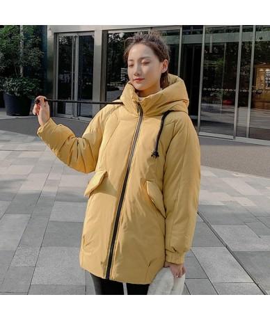 Women mid-long jackets coat 2019 Casual thicken warm parkas coat Solid winter sintepon jacket female outwear coat - YELLOW -...