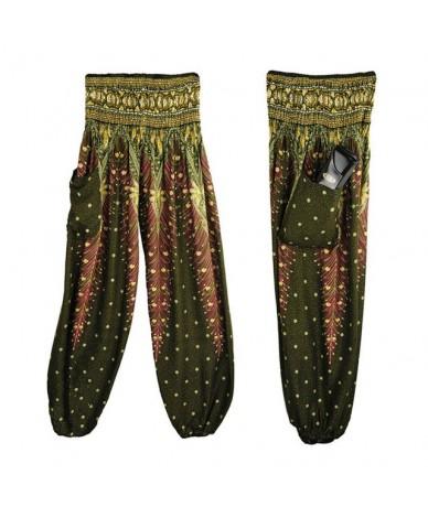 Men Women Thai Harem Trousers Boho Festival Hippy Smock High Waist Pants trousers pants for Women's pants Hose - Army Green ...