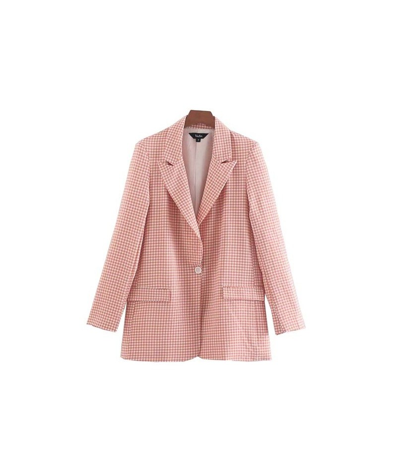 women pink plaid blazer checkered long sleeve one button pockets notched collar female casual outwear coats tops CA507 - as ...
